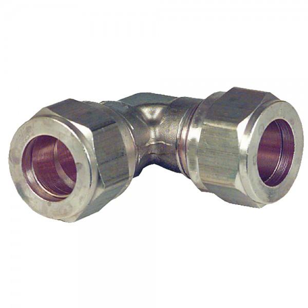 Klemmringverschraubung Winkel 90° 10 bis 28 mm Messing Klemmring Schraubfitting