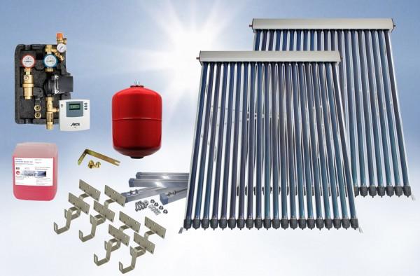 Solarthermie Basic Paket - Eurotherm-Solar Vakuumröhrenkollektor - 13,65m²