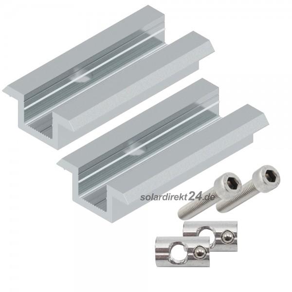 2er-Set Mittelklemme für 30-50 mm Module silber inkl. Schrauben Photovoltaik PV Solar
