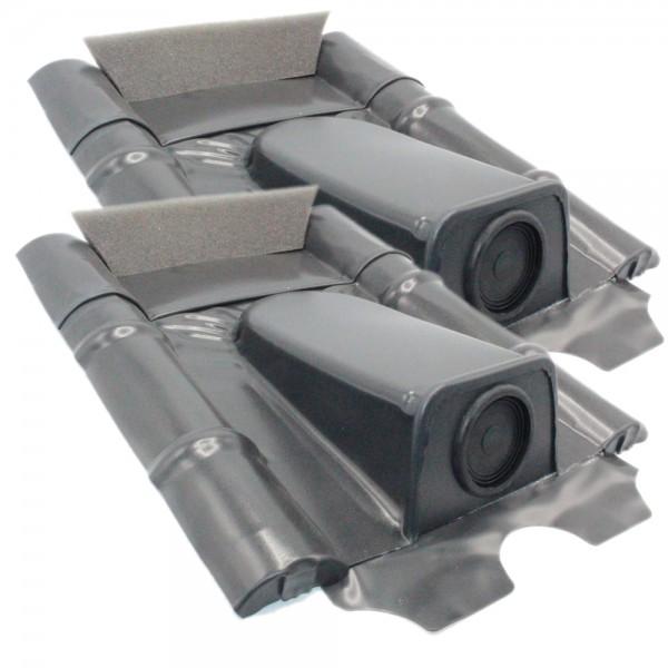 2er-Set Dachdurchführung für Betonziegel, Schwarzgrau pulverbeschichtet, verzinkt
