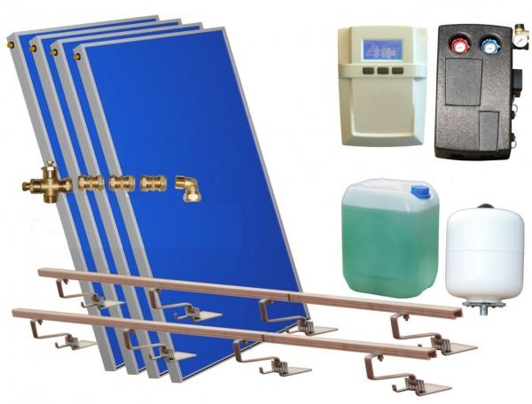 Solarthermie Basic Paket - Eurotherm-Solar Flachkollektoren – 12,55m² – Flachdachmontage