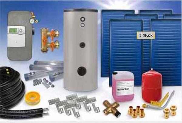 Flachkollektor - Brauchwasser & Heizung Paket 12,60m² - 825 Liter Speicher (BWH-13.825) - INDACH