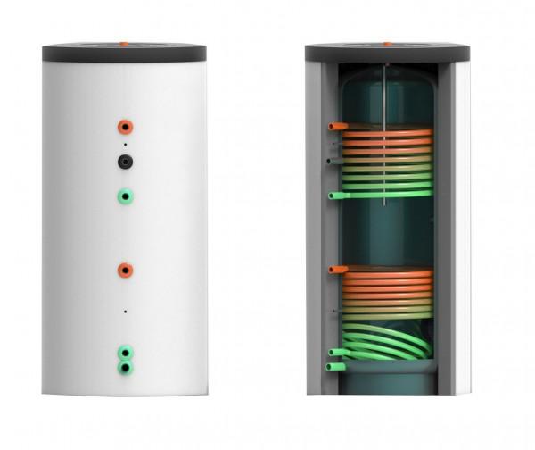 Trinkwasser- Speicher mit zwei Wärmetauschern 400 Liter inkl. 75 mm Hartschaumverbundisolierung (TWS
