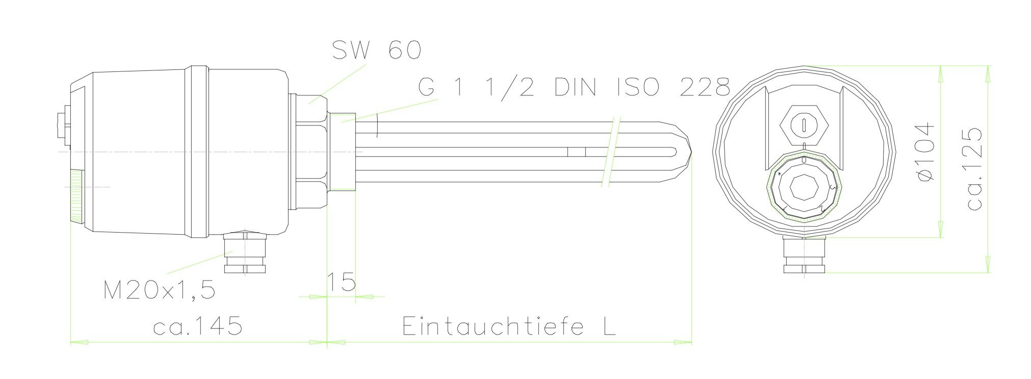 660mm Einbaul/änge DN40 Elektroheizstab Einschraubheizk/örper 9.00KW 1 1//2