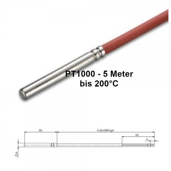 PT1000 Kabeltemperaturfühler 5 Meter