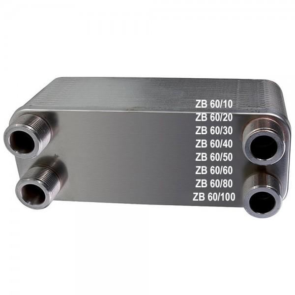 Plattenwärmetauscher ZB60 Edelstahl 1 Zoll + 1 1/4 Zoll 10 bis 100 Platten