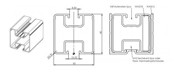 Aluminium Trägerprofil / Montageprofil 40x40mm Meterware