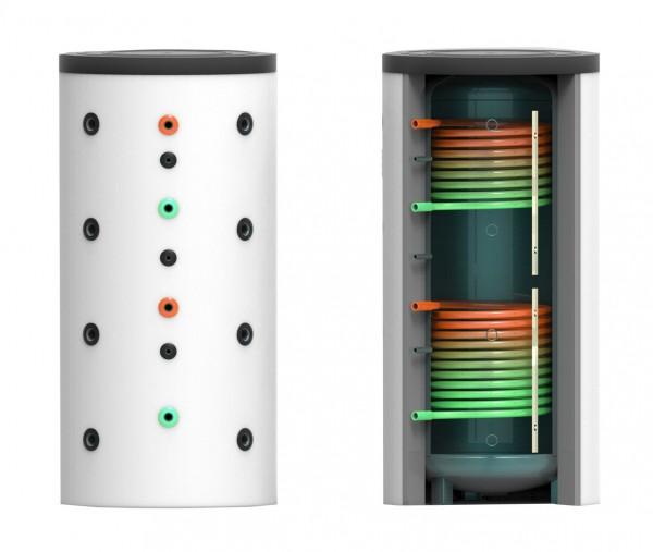 Puffer- Schichtenspeicher mit zwei Wärmetauschern 1500 Liter inkl. 120 mm Isolierung (PSS-WT2-1500-1