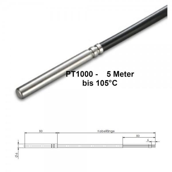 PT1000 Temperaturfühler 105° Speicherfühler Kollektorfühler Solarfühler 5,0 Meter