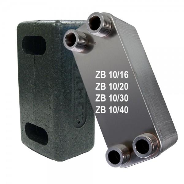 """Plattenwärmetauscher inkl. Isolierung ZB10 3/4"""" 16 bis 40 Platten"""