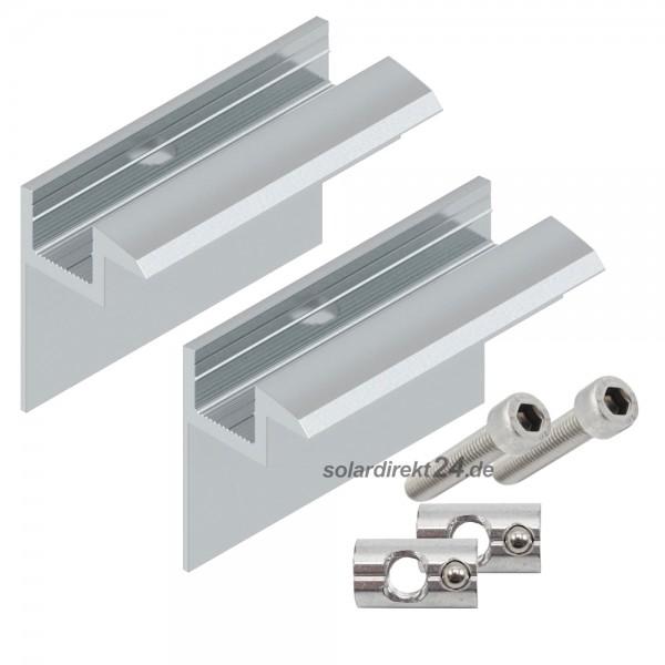 2er-Set Endklemme für 40 mm Module silber inkl. Schrauben Solar Photovoltaik PV