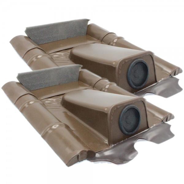 2er-Set Dachdurchführung für Betonziegel, Braun pulverbeschichtet, verzinkt