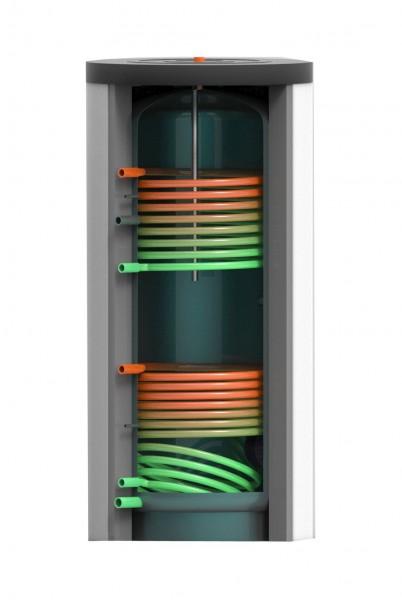 Trinkwasser- Speicher mit zwei Wärmetauschern 400 Liter inkl. 75 mm Hartschaumisolierung (TWS-WT2-40