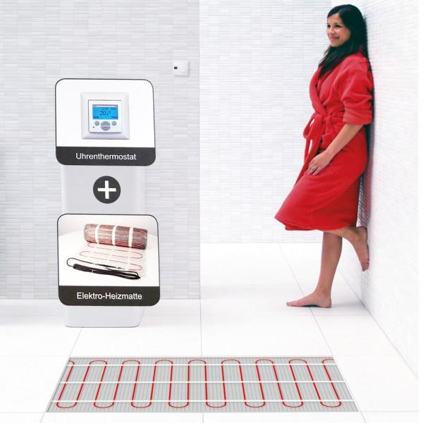 Elektro Flächenheizung Komplettset 1m² bis 10m² Elektroheizmatte Fußbodenheizung