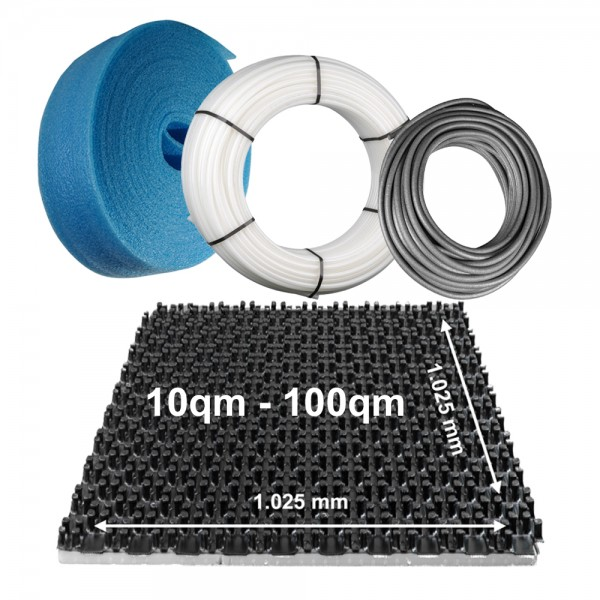 10qm - 100qm Fußbodenheizung Komplettset Noppensystem Basispaket