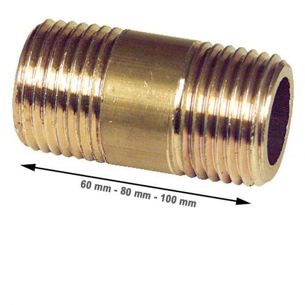 "Messing Doppelnippel Rohrdoppelnippel 1/2"" bis 1"" 60mm 80mm 100mm"