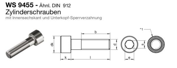 Zylinderschraube M8x40 Innensechskant A2 Edelstahl Unterkopfverzahnung