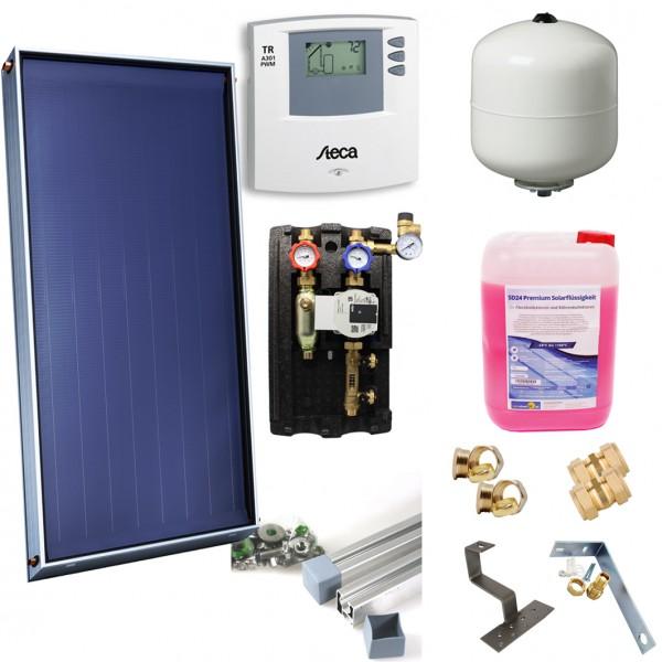 Solarthermie Basic Paket – DIMAS SOL+ 23 Flachkollektor – 11,20m² – Aufdachmontage