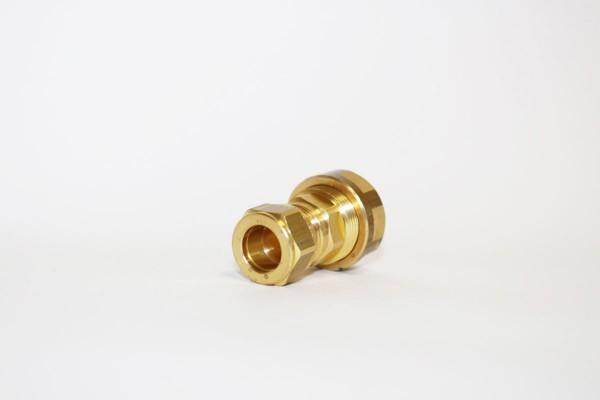 Wellrohr-Verschraubung - Übergang: Wellrohr DN16 auf 15mm Kupfer (Cu)