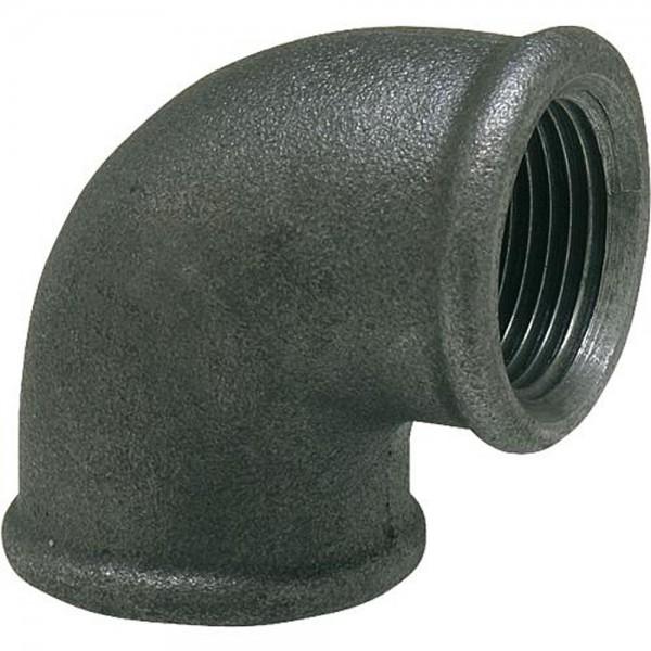 Temperguss Winkel 90° IG Fitting, schwarz