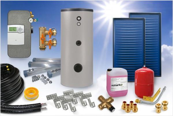 Flachkollektor - Brauchwasser Paket 5,04m² - 300 Liter Speicher (BW-5.300) - Horizontal