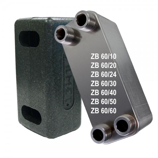 """Plattenwärmetauscher inkl. Isolierung ZB60 10 bis 60 Platten 1"""" 1 1/4"""""""