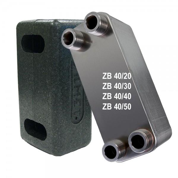 """Plattenwärmetauscher inkl. Isolierung ZB40 3/4"""" 20 bis 50 Platten"""